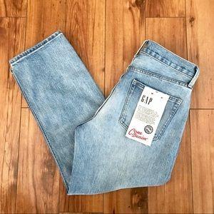 NEW GAP Cone Denim Cropped Straight Leg Mom Jeans